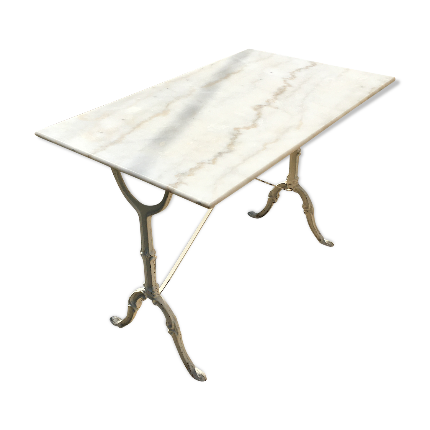 Table bistrot en marbre blanc
