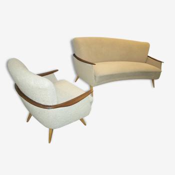 Set canapé arc + 2 fauteuils Danois années 50 60 bon etat