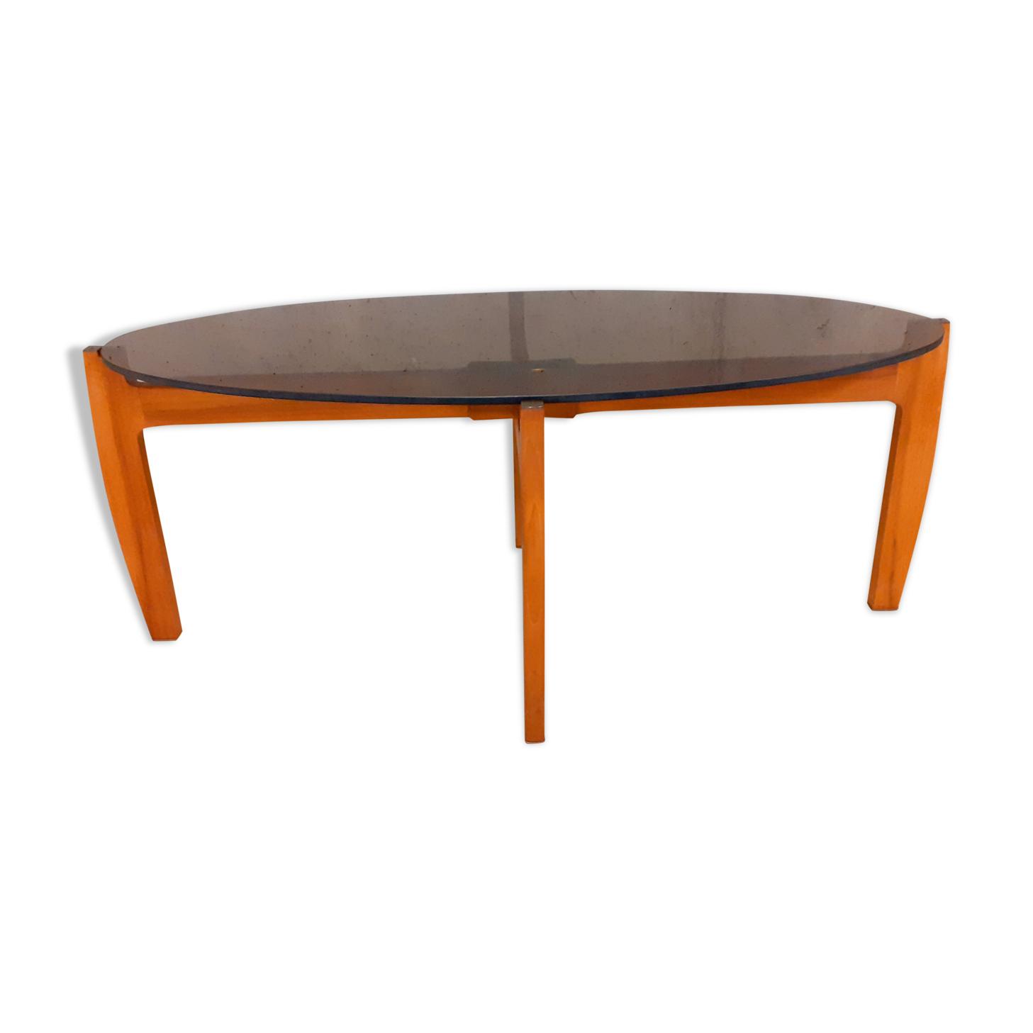 Table basse ovale scandinave vintage années 60 70 en teck et verre fumé