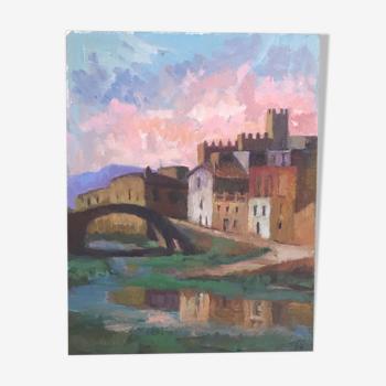 Peinture sur toile village Besalu en Espagne