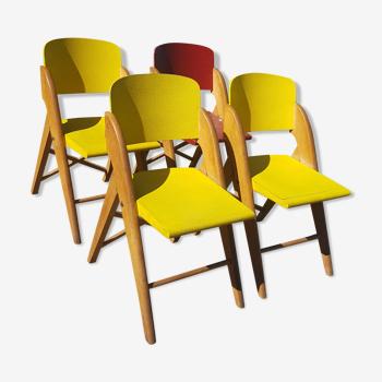 Série quatre chaises vintage années 50 pliantes