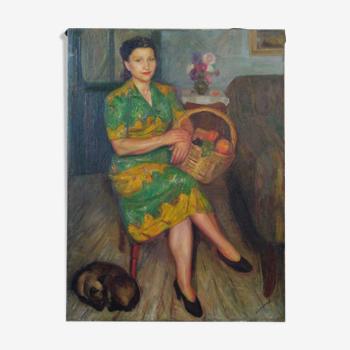 Tableau huile sur toile J. Companys Femme chat