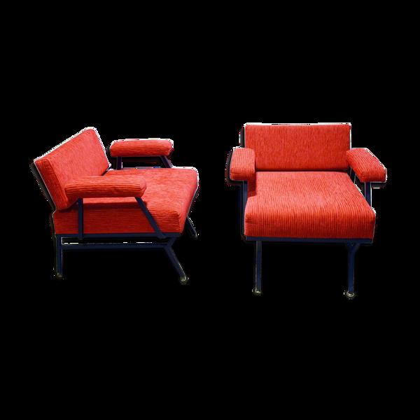 Paire de fauteuils italiens du milieu du siècle en tissu velours côtelé