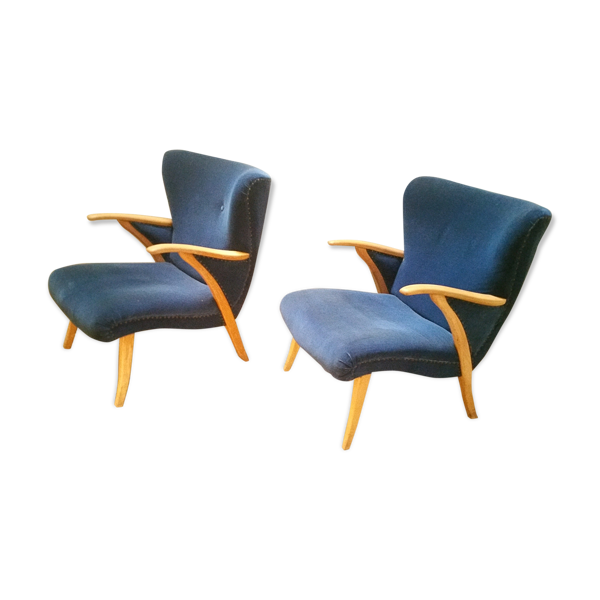 Selency Paire de fauteuils scandinave wing Zig Zag cocktail  années 50 bleus
