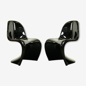 Paire de chaises Panton S-Chairs en noire de Verner Panton pour Herman Miller 1975