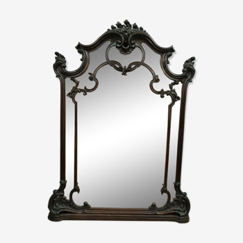 Miroir cloisonné Louis XV Baroque en noyer a décors d'attributs divers circa 1850
