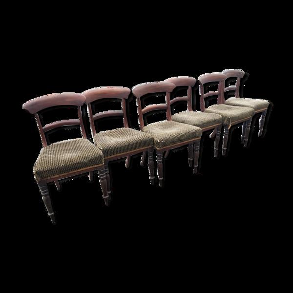 Série de 6 chaises en acajou époque consulat