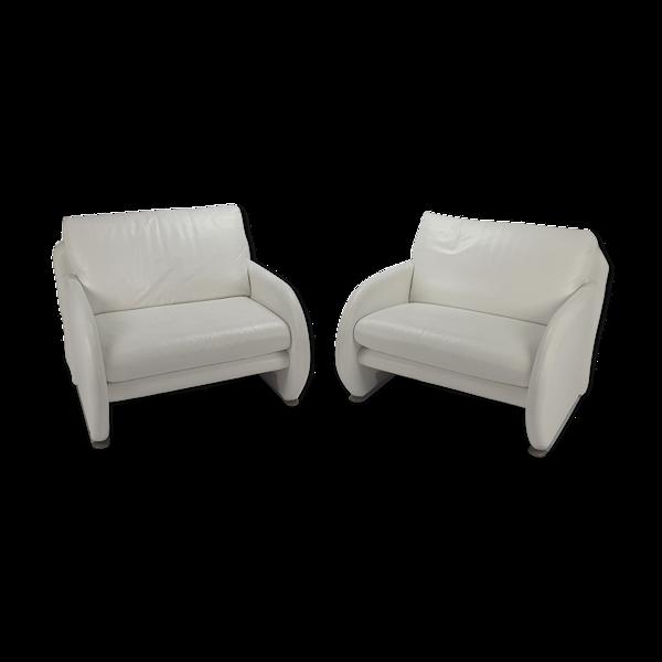 Paire de 2 fauteuils en cuir blanc années 1980