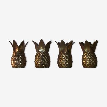 Set de quatre bougeoirs ananas vintage