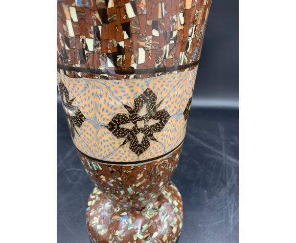Vase cornet mosaïque 22 gerbino, vallauris