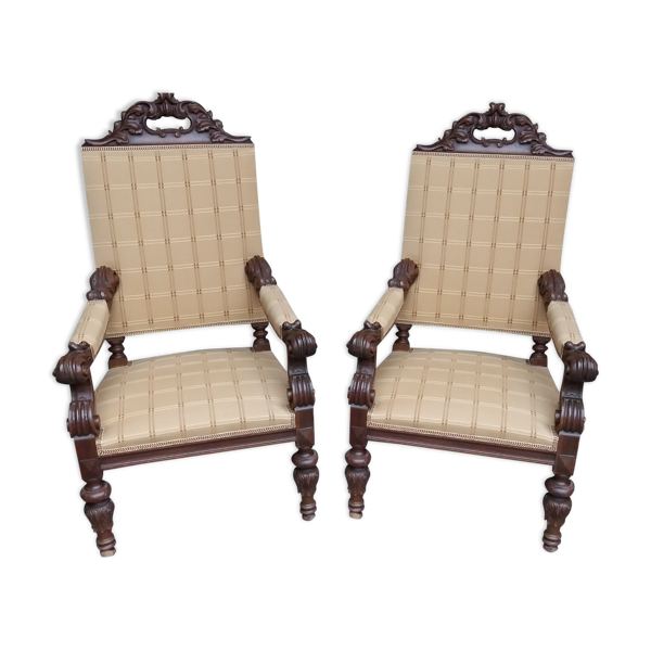Selency Paire de fauteuils style Louis XIII