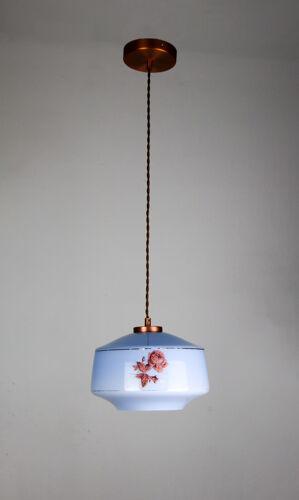 Suspension en verre bleu vintage