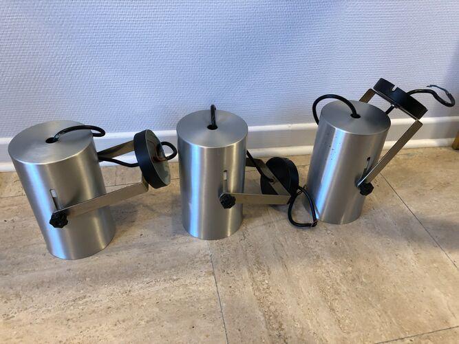 Set de 3 appliques aluminium 1970