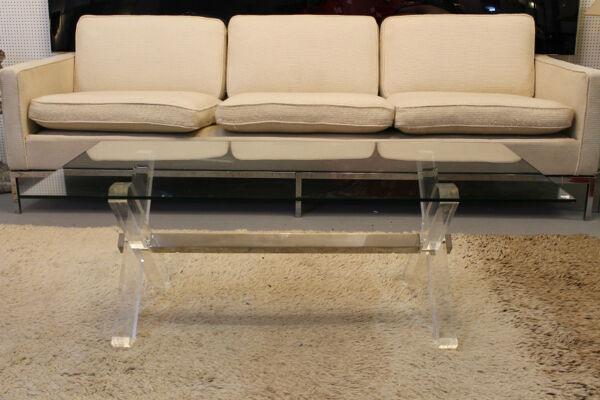 Table basse verre et plexiglass