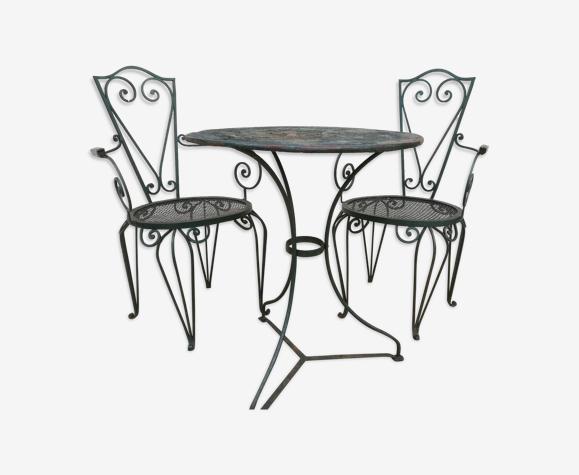 Gueridon et ses deux fauteuils début XXème