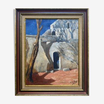 """Tableau HST """"Paysage Orientaliste"""" par Ch. L. Smets +et cadre"""