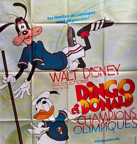 """Affiche cinéma originale """"Dingo et Donald Champion Olympiques"""" 120x160cm 1972"""