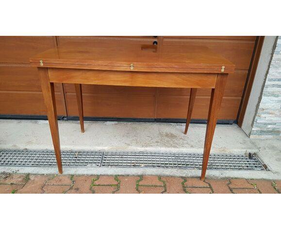 Table extensible vintage portefeuille pieds fuseaux années 60-70