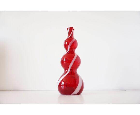Carafe italienne verre soufflé rouge empoli