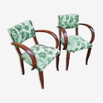 Paire de fauteuils bridge tissu vert