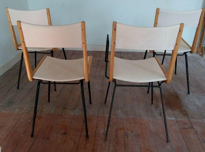 Série de 4 chaises, années 50