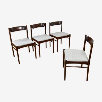 4 chaises danoise en acajou vintage 1960