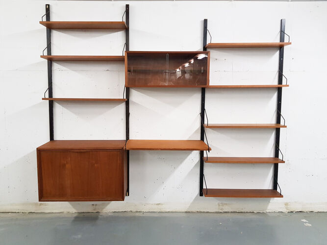 Bibliothèque en teck Poul Cadovius pour Royal System , Danemark années 1950