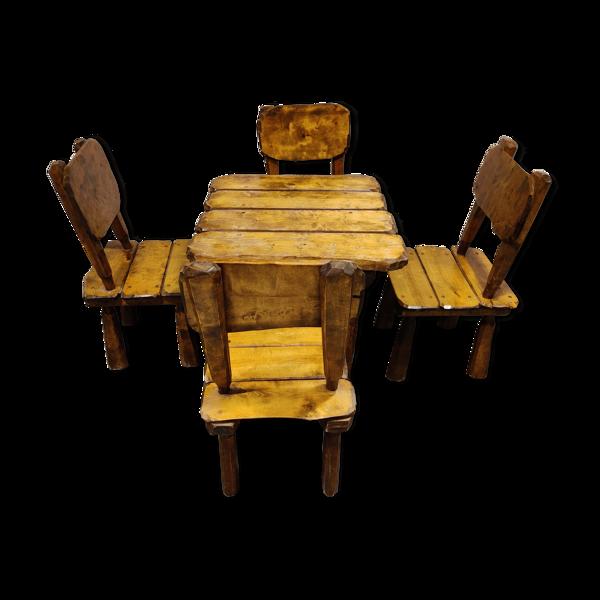 Chaises et table à manger wabi sabi vintage, années 1960