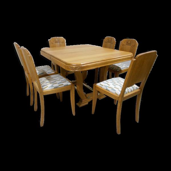 Selency Table et six chaises art déco