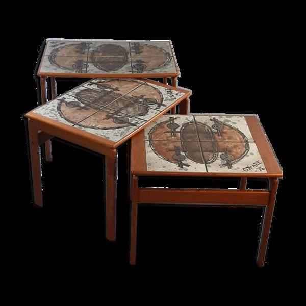 Tables gigognes en teck et céramique par Ox Art pour Trioh, vintage scandinave 1976