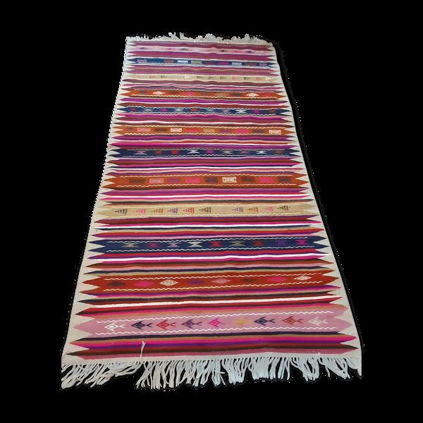 Tapis kilim rose marocain tapis rayé en laine fait à la main 100x200cm