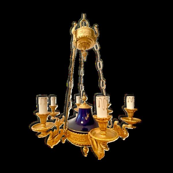 Lustre à 6 bras de lumière en bronze doré de style Empire français, en porcelaine bleu cobalt