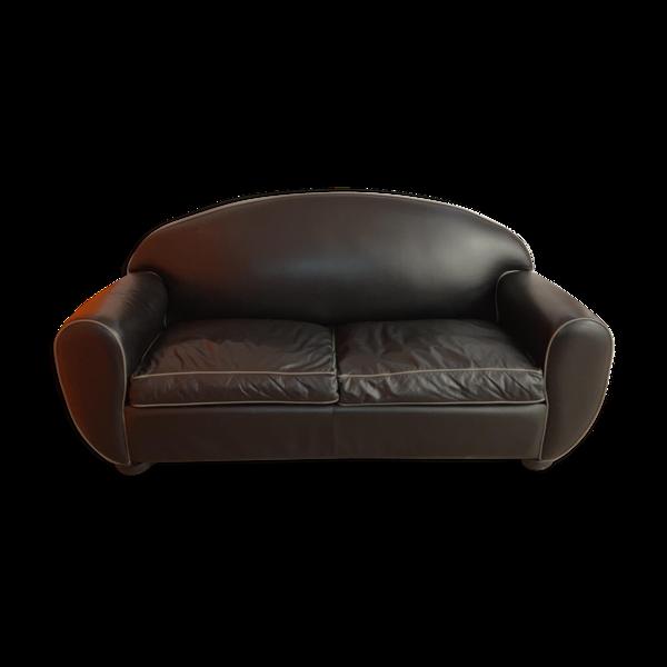 Selency Fauteuil en cuir noir