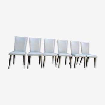 Suite de 6 chaises de salle à manger années 50'S simili cuir gris