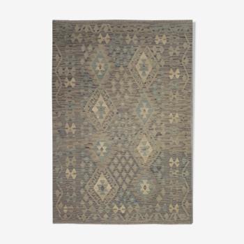 Tapis Kilim afghan traditionnel gris gris 124x182cm