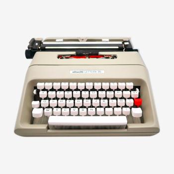 Machine à écrire Olivetti Lettera 35 gris beige révisée ruban neuf