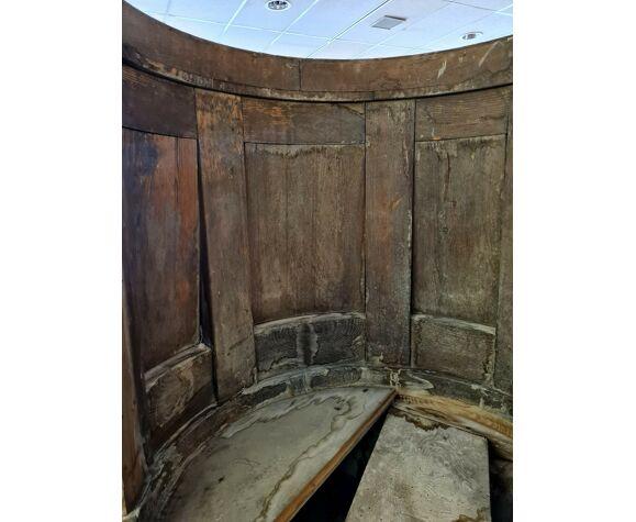 Chaise d'église époque 18eme en bois patiné