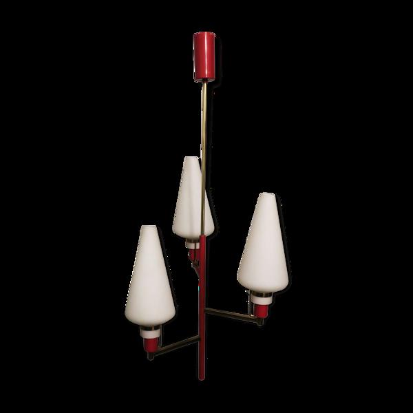 Lustre italien en laiton et verre 3-lumière Stilnovo période