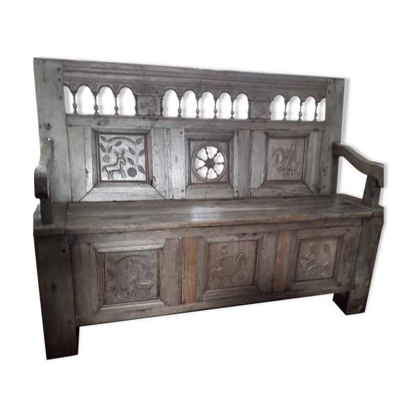 Banc coffre breton ancien