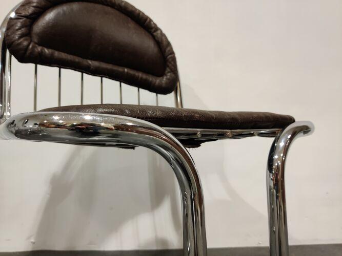 Chaises à manger vintage chromées et en cuir années 1970