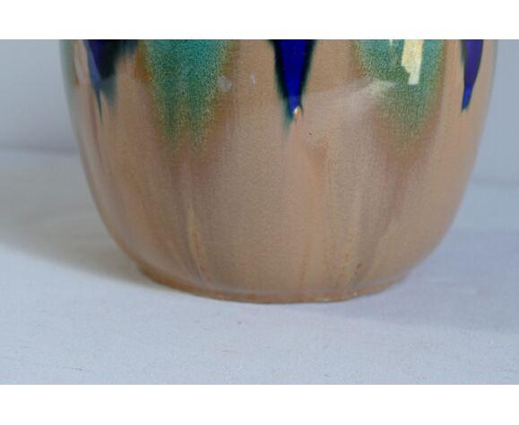 Cache pot art déco de forme ronde en faïence bleu et marron