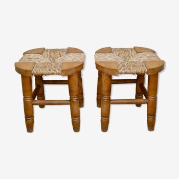 Paire de tabourets en bois et assise paillée