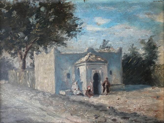 """Tableau hsp orientaliste : """"mosquée animée"""" XlX"""