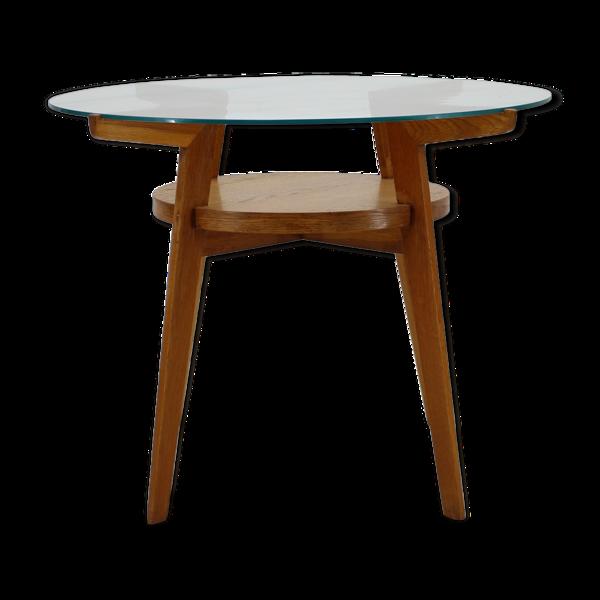 Selency Table à café en chêne et verre des années 1960 Tchécoslovaquie