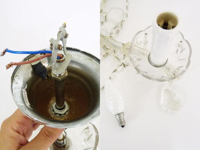 Lustre Marie Thérèse à 5 feux à pampilles en verre