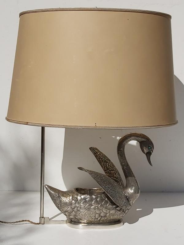Lampe cygne bronze argenté années 70