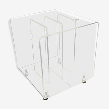 Vintage Plexiglas phono, chariot de disques ou table d'appoint