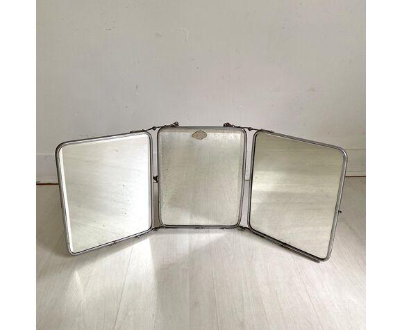 Miroir triptyque de barbier vintage 1950