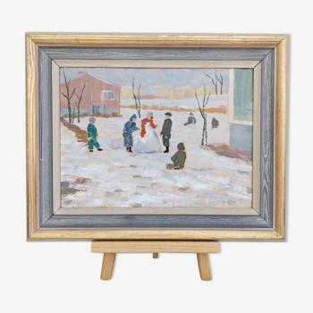 Peinture à l'huile encadrée vintage du milieu du siècle - snow day