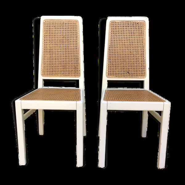 2 chaises cannées vintage années 70